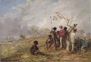Thomas Baines with Aborigines near the mouth of the Victoria River, N.T. Thomas Baines