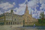 Painting of view of Jackson Square French Quarter of New Orleans, William Woodward