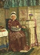 Old woman by a hearth August Allebe