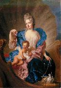 Portrait of Countess of Cosel with son as Cupido. Francois de Troy