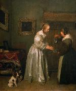A lady washing her hands. Gerard ter Borch the Younger