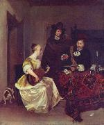 A Woman playing a Theorbo to Two Men Gerard ter Borch the Younger