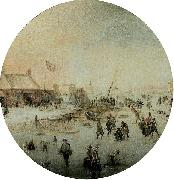 Winter landscape with skates and people playing kolf Hendrick Avercamp