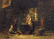 An old kitchen with a mother and two children at the cauldron Hendrik Valkenburg