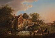 Landscape with waterfall and farm Henri van Assche