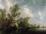 River Landscape with Ferry and cottages Jan van Goyen