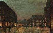 Boar Lane, Leeds, by lamplight. Signed and dated 'Atkinson Grimshaw 1881+' (lower right) signed and inscribed with title on reverse Atkinson Grimshaw