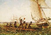 Aboriginal Canoes Communicating with the 'Monarch' and the 'Tom Tough', 28 August 1855 Thomas Baines