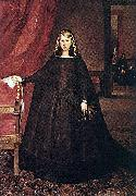 The sitter is Margaret of Spain, first wife of Leopold I, Holy Roman Emperor, wearing mourning dress for her father, Philip IV of Spain, with children Juan Bautista del Mazo