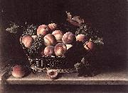 Basket with Peaches and Grapes Louise Moillon