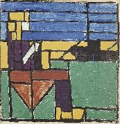 Girl Knitting on the Harbor. Theo van Doesburg
