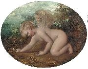 A putto collecting flowers William Etty