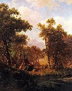 Indian Encampment, Shoshone Village - in a riparian forest, western United States Bierstadt