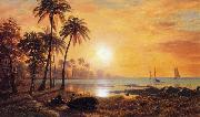 Tropical Landscape with Fishing Boats in Bay Bierstadt