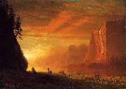 Deer at Sunset Bierstadt