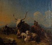 Shepherd with animals in the countryside Eugne Joseph Verboeckhoven
