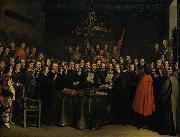 Ratification of the Peace of Munster between Spain and the Dutch Republic in the town hall of Munster, 15 May 1648. Gerard ter Borch the Younger
