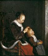 A mother combing the hair of her child, known as Hunting for lice Gerard ter Borch the Younger