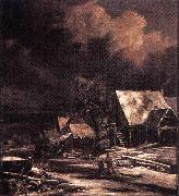Village in Winter by Moonlight Jacob Isaacksz. van Ruisdael