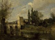 The bridge at Mantes camille corot