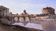 The Bridge and Castel Sant'Angelo with the Cuploa of St. Peter's camille corot