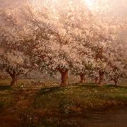 Typical Verner Moore White oil painting on canvas of apple blossoms Verner Moore White
