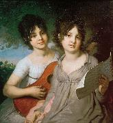 Portrait of the Sisters Princess Anna Gavriilovna Gagarina and Princess Varvara Gavriilovna Gagarina Vladimir Borovikovsky