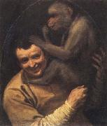 Portrait of a Young Man with a Monkey Annibale Carracci