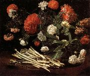 Still Life with Roses,Asparagus,Peonies,and Car-nations Giovanni Martinelli