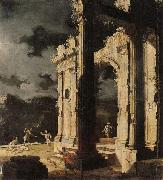 An architectural capriccio with figures amongst ruins,under a stormy night sky Leonardo Coccorante