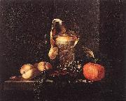 Still-Life with Silver Bowl, Glasses, and Fruit KALF, Willem