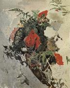 Red Flowers and Begonia Leaves in a basket Mikhail Vrubel