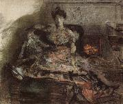 Arter the concert:nadezhda zabela-Vrubel by the fireplace wearing a dress designed by the artist Mikhail Vrubel