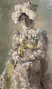 Portrait of Nadezhda zabela-Vrubel.the Artist's wife,wearing an empire-styles summer dress made to his design Mikhail Vrubel