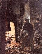 Self-Portrait with Worker near the Steam-hammer Adolph von Menzel