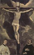 Christ on the Cross Adored by Two Donors (mk05) El Greco