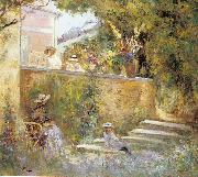 Nono and Marthe in the Garden with Madame Lebasque Lebasque, Henri