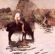 Young Peasant Taking his Horse to the Watering Hole Muenier, Jules-Alexis