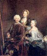 The Artist at Work with his Two Daughters PESNE, Antoine