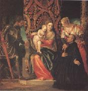 The Virgin and Child with Saints Justin and George and a Benedictine (mk05) VERONESE (Paolo Caliari)