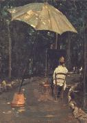 Angiolo Tommasi Painting in a Garden (nn02) Silvestro lega