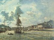 Entrance to the Port of Honfleur (Windy Day) (nn02) Johan Barthold Jongkind