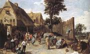 Peasants dancing outside an Inn (mk25) TENIERS, David the Younger