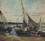 Trouville Fishing Boats Stranded in the Channel (mk40) camille corot