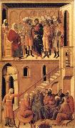 Peter's First Denial of Christ and Christ Before the High Priest Annas Duccio