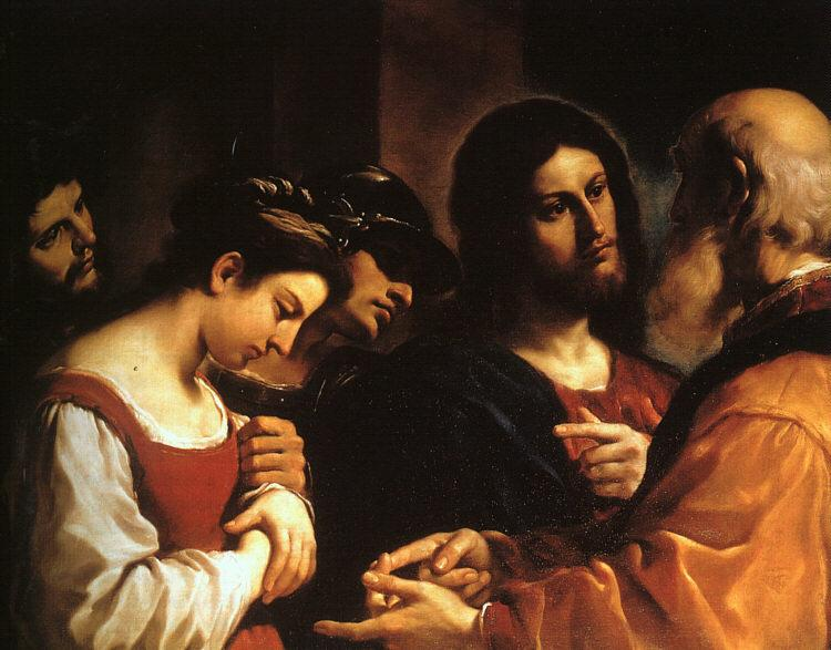 Giovanni Francesco  Guercino Christ with the Woman Taken in Adultery