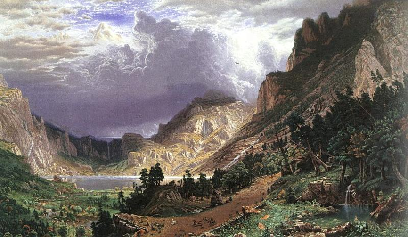Albert Bierstadt Storm in the Rocky Mountains, Mt Rosalie