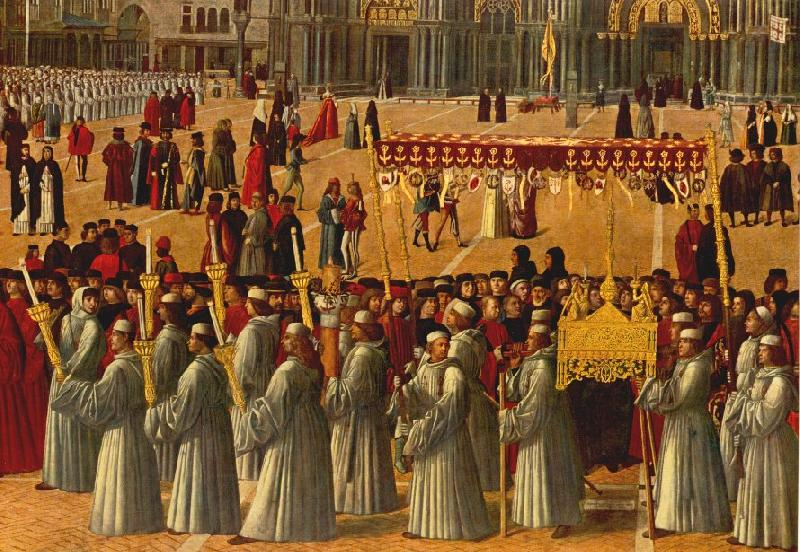 BELLINI, Gentile Procession in Piazza S. Marco (detail) ll95