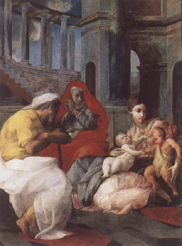 Francesco Primaticcio The Holy family with St.Elisabeth and St.John t he Baptist