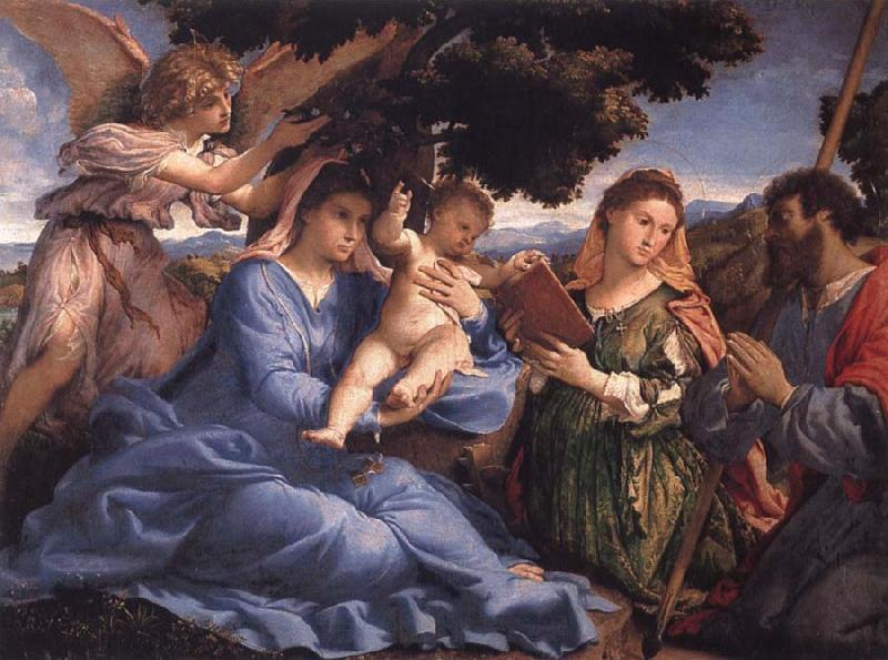 Lorenzo Lotto Virgin and Child with SS Catherine and Fames the Greater